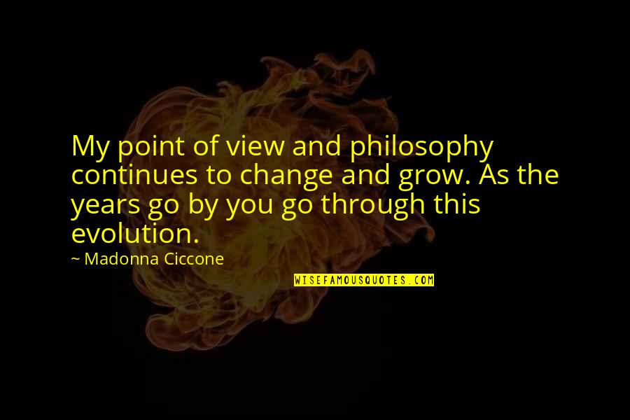 Evolution And Change Quotes By Madonna Ciccone: My point of view and philosophy continues to