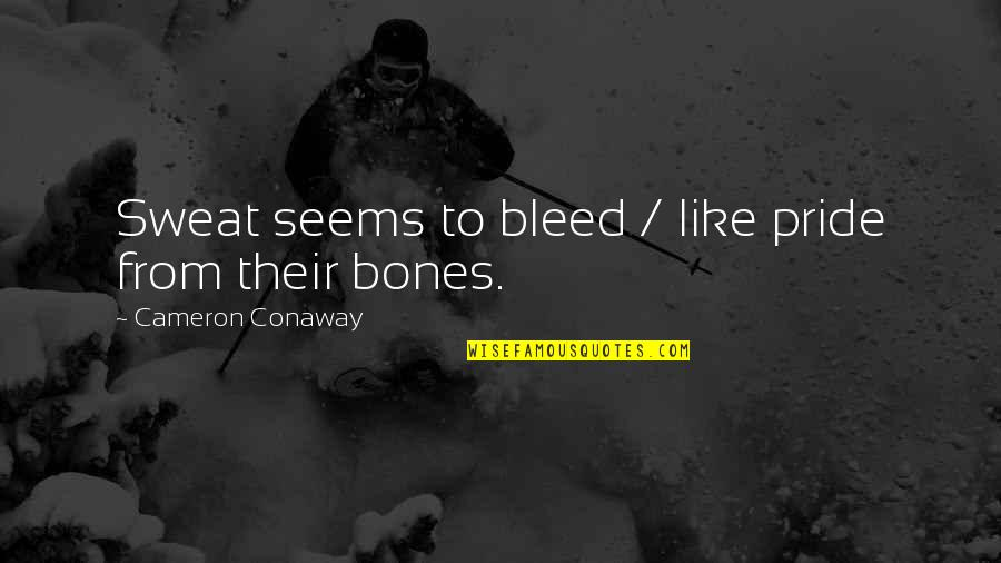 Evonne Goolagong Quotes By Cameron Conaway: Sweat seems to bleed / like pride from