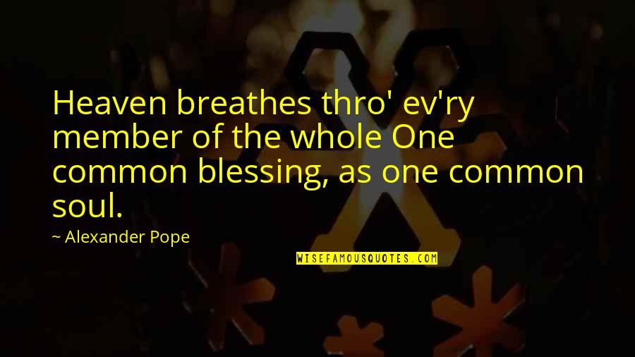 Ev'ryt'ing Quotes By Alexander Pope: Heaven breathes thro' ev'ry member of the whole