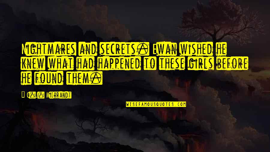 Ewan Quotes By C.J. Milbrandt: Nightmares and secrets. Ewan wished he knew what