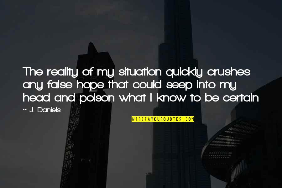 Ex Crushes Quotes By J. Daniels: The reality of my situation quickly crushes any