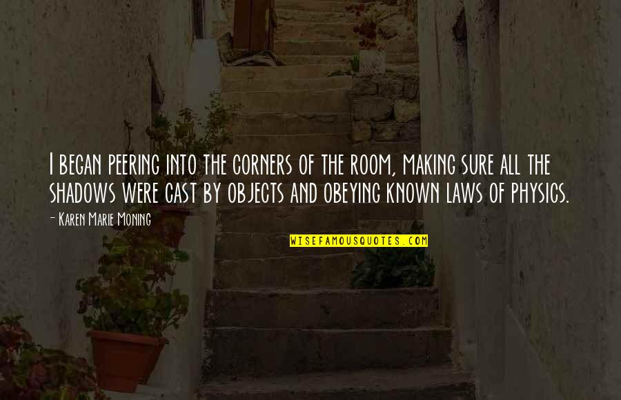 Ex In Laws Quotes By Karen Marie Moning: I began peering into the corners of the