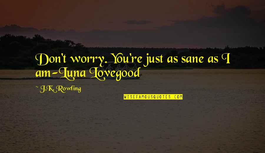 Exam Malpractice Quotes By J.K. Rowling: Don't worry. You're just as sane as I