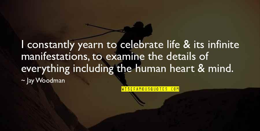 Examine Your Heart Quotes By Jay Woodman: I constantly yearn to celebrate life & its