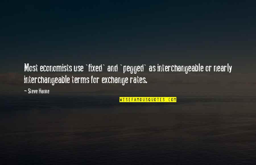 Exchange Rates Quotes By Steve Hanke: Most economists use 'fixed' and 'pegged' as interchangeable