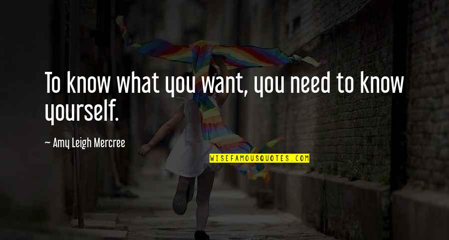 Excitement Of Meeting Someone New Quotes By Amy Leigh Mercree: To know what you want, you need to