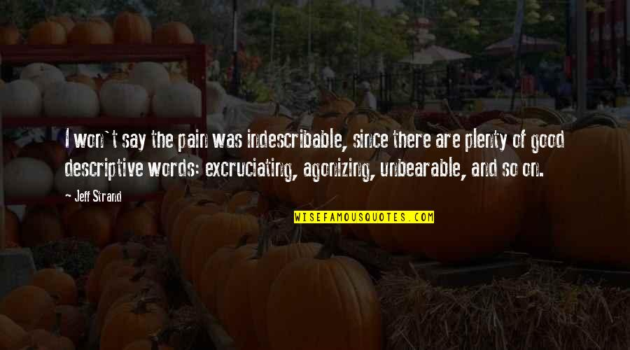 Excruciating Quotes By Jeff Strand: I won't say the pain was indescribable, since