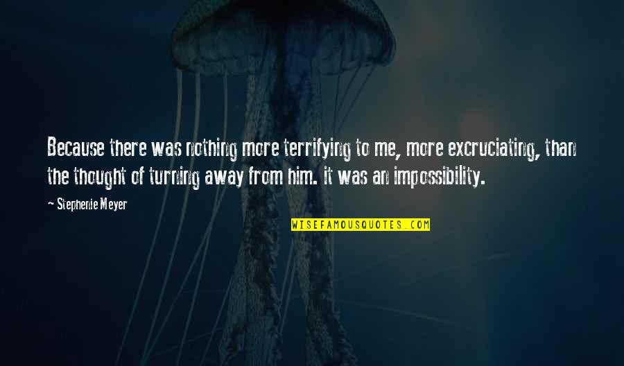 Excruciating Quotes By Stephenie Meyer: Because there was nothing more terrifying to me,