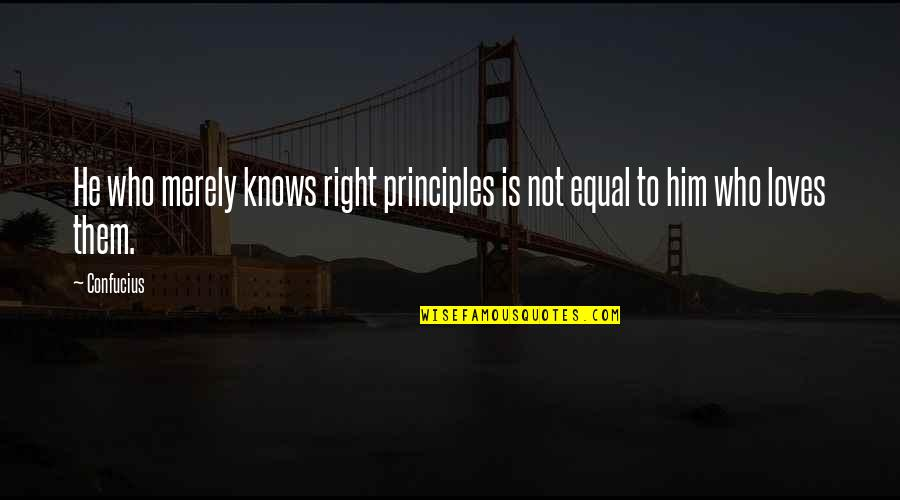 Exhaler Quotes By Confucius: He who merely knows right principles is not