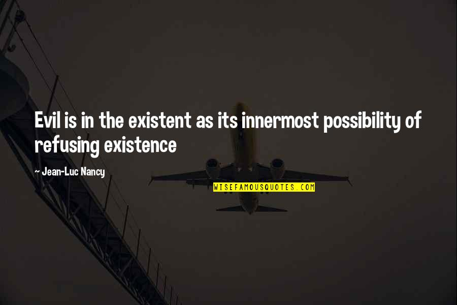 Existence Of Evil Quotes By Jean-Luc Nancy: Evil is in the existent as its innermost