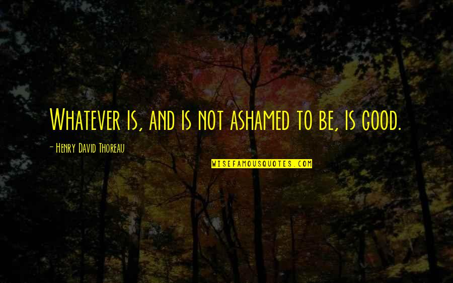 Existentiality Quotes By Henry David Thoreau: Whatever is, and is not ashamed to be,