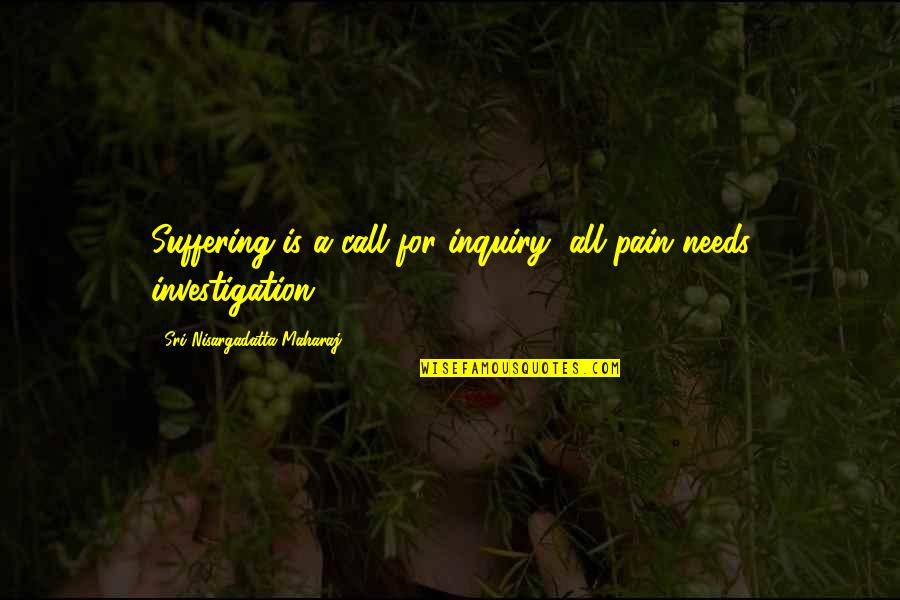Exodus Quotes Quotes By Sri Nisargadatta Maharaj: Suffering is a call for inquiry, all pain