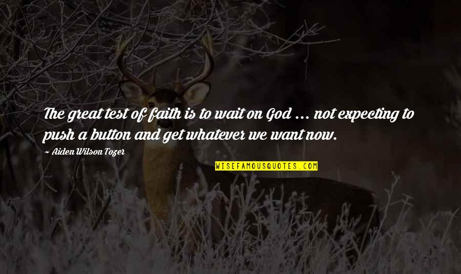 Expecting The Best Quotes By Aiden Wilson Tozer: The great test of faith is to wait