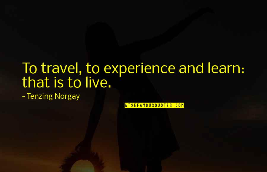 Experience Travel Quotes By Tenzing Norgay: To travel, to experience and learn: that is