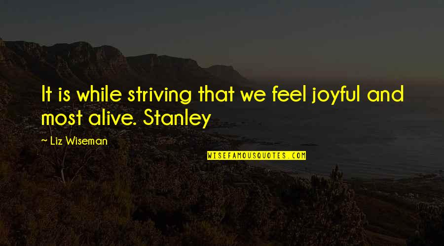 Experiencers Quotes By Liz Wiseman: It is while striving that we feel joyful