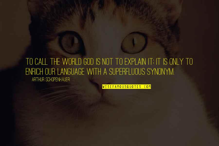 Explain The Quotes By Arthur Schopenhauer: To call the world God is not to