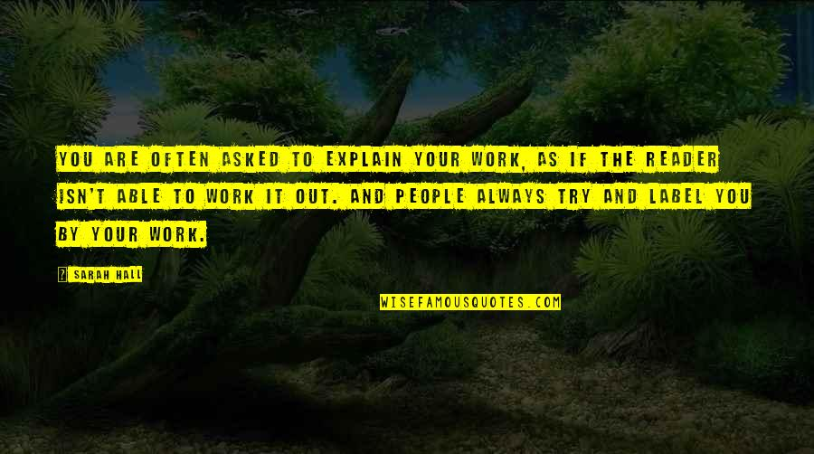 Explain The Quotes By Sarah Hall: You are often asked to explain your work,