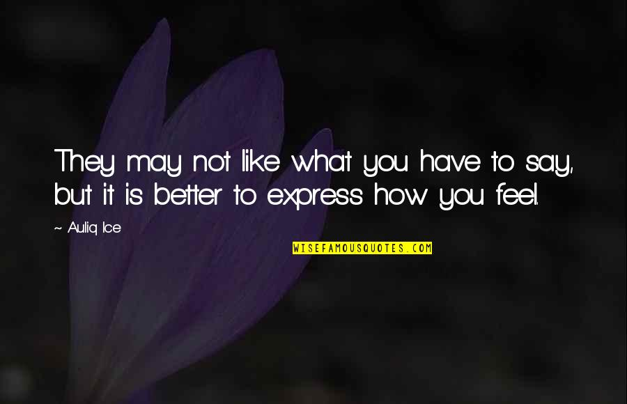 Express What You Feel Quotes By Auliq Ice: They may not like what you have to