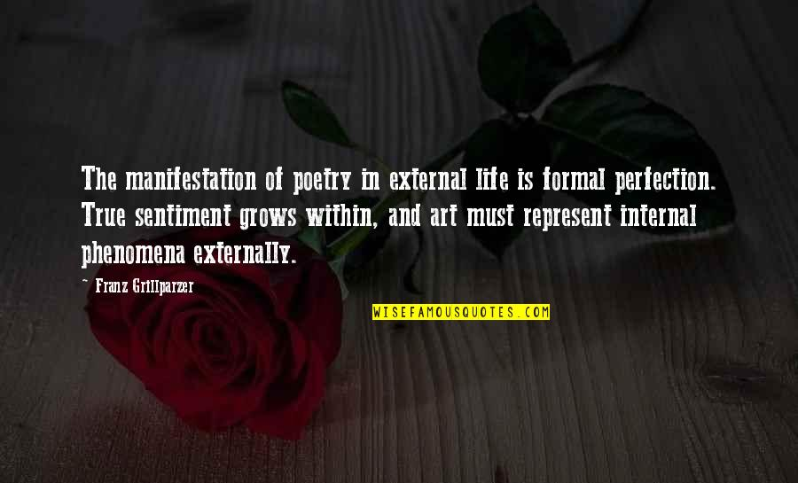 Externally Quotes By Franz Grillparzer: The manifestation of poetry in external life is