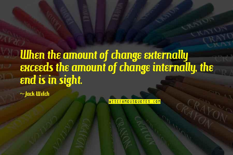 Externally Quotes By Jack Welch: When the amount of change externally exceeds the