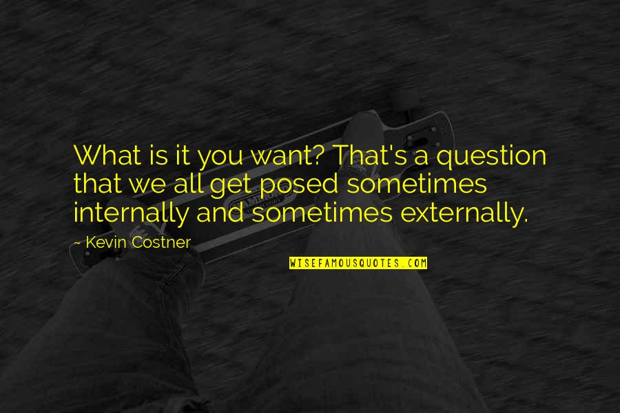 Externally Quotes By Kevin Costner: What is it you want? That's a question