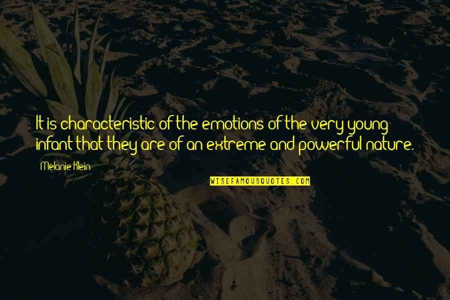 Extreme Emotions Quotes By Melanie Klein: It is characteristic of the emotions of the
