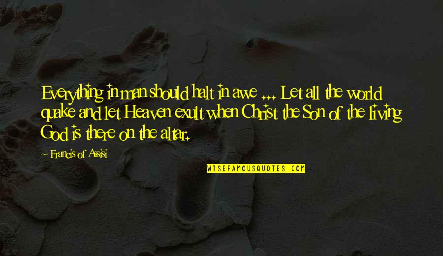 Exult Quotes By Francis Of Assisi: Everything in man should halt in awe ...