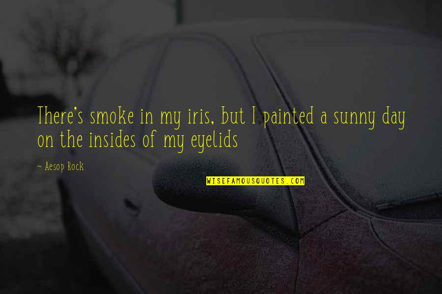 Eyelids Quotes By Aesop Rock: There's smoke in my iris, but I painted