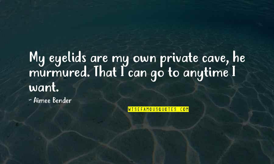 Eyelids Quotes By Aimee Bender: My eyelids are my own private cave, he