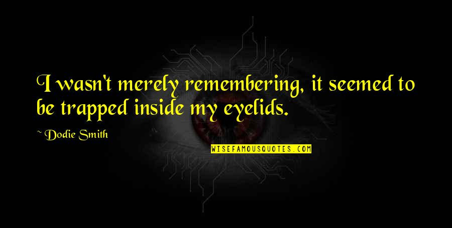 Eyelids Quotes By Dodie Smith: I wasn't merely remembering, it seemed to be