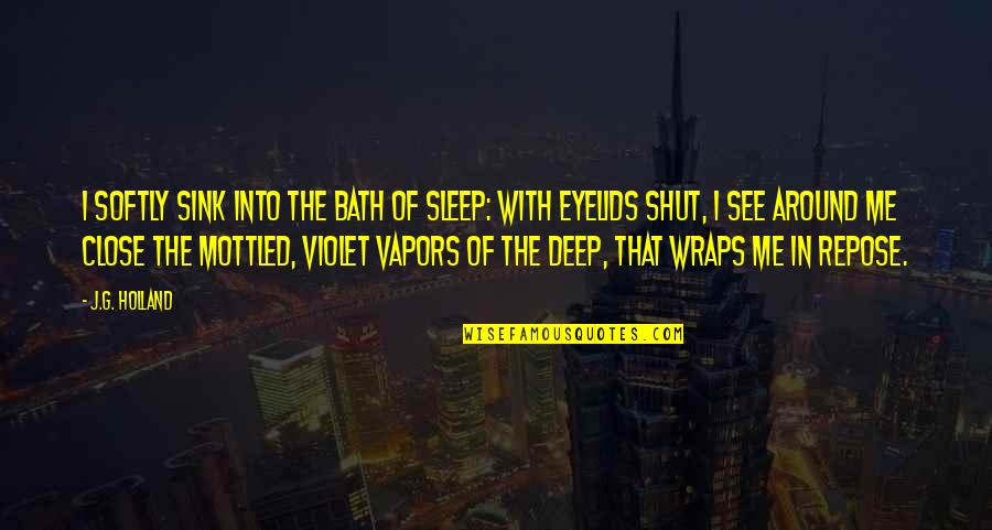 Eyelids Quotes By J.G. Holland: I softly sink into the bath of sleep: