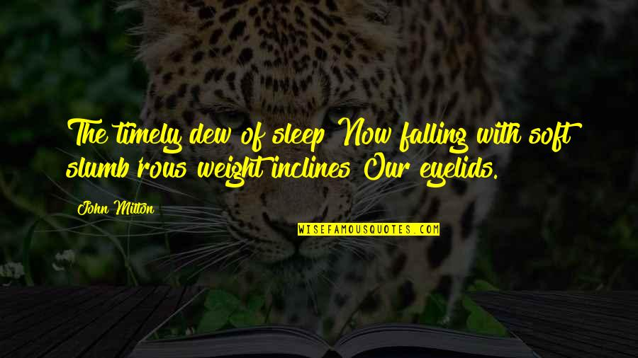 Eyelids Quotes By John Milton: The timely dew of sleep Now falling with