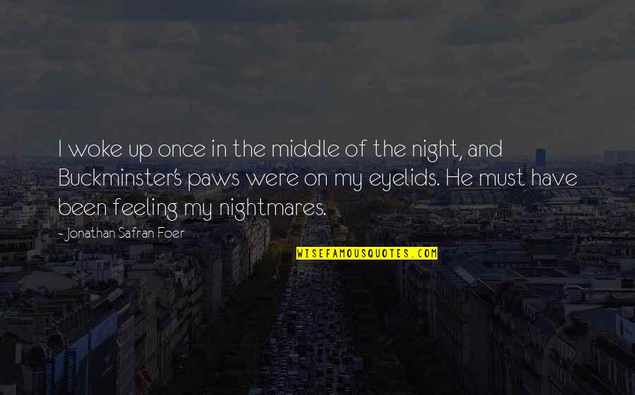 Eyelids Quotes By Jonathan Safran Foer: I woke up once in the middle of