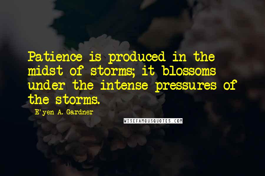 E'yen A. Gardner quotes: Patience is produced in the midst of storms; it blossoms under the intense pressures of the storms.