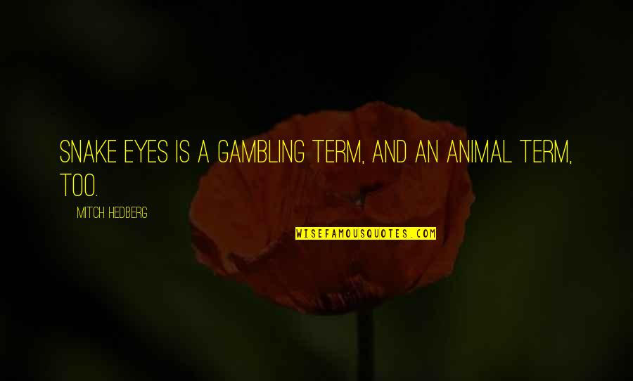 Eyes Funny Quotes By Mitch Hedberg: Snake eyes is a gambling term, and an