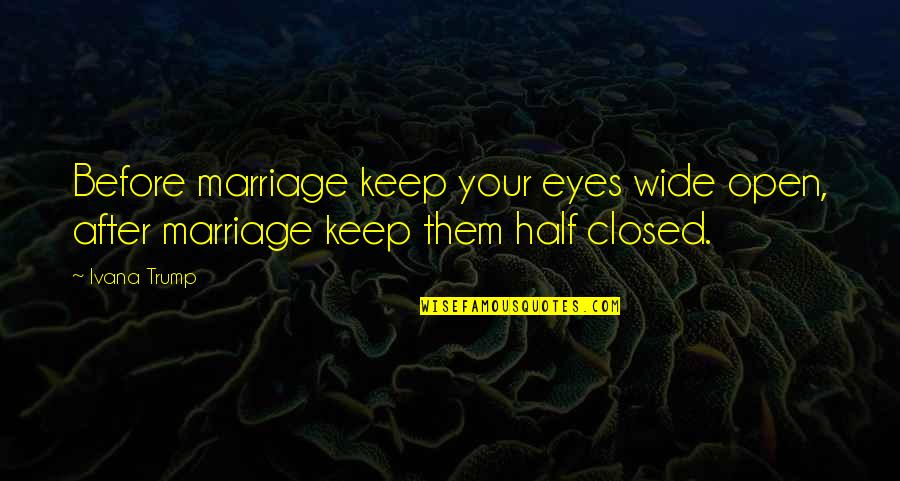 Eyes Wide Closed Quotes By Ivana Trump: Before marriage keep your eyes wide open, after