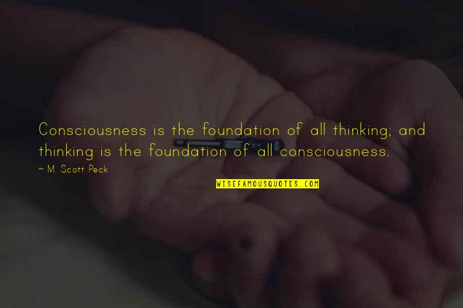 Eyes Wide Closed Quotes By M. Scott Peck: Consciousness is the foundation of all thinking; and