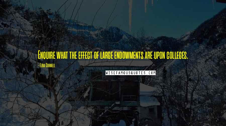 Ezra Cornell quotes: Enquire what the effect of large endowments are upon colleges.