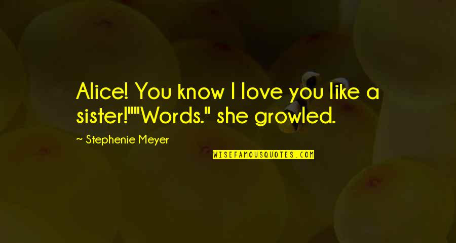 F Croisset Quotes By Stephenie Meyer: Alice! You know I love you like a