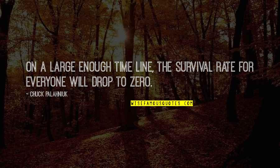F Zero Quotes By Chuck Palahniuk: On a large enough time line, the survival