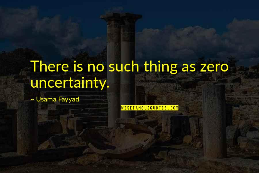 F Zero X Quotes By Usama Fayyad: There is no such thing as zero uncertainty.