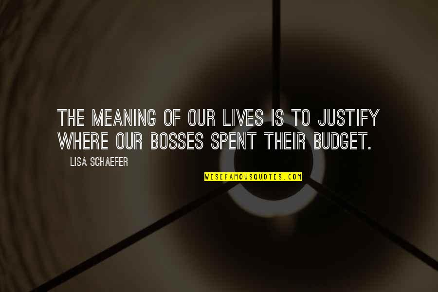 Faa's Quotes By Lisa Schaefer: The meaning of our lives is to justify