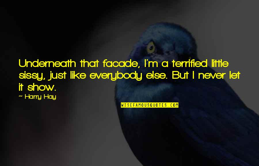Facade Quotes By Harry Hay: Underneath that facade, I'm a terrified little sissy,