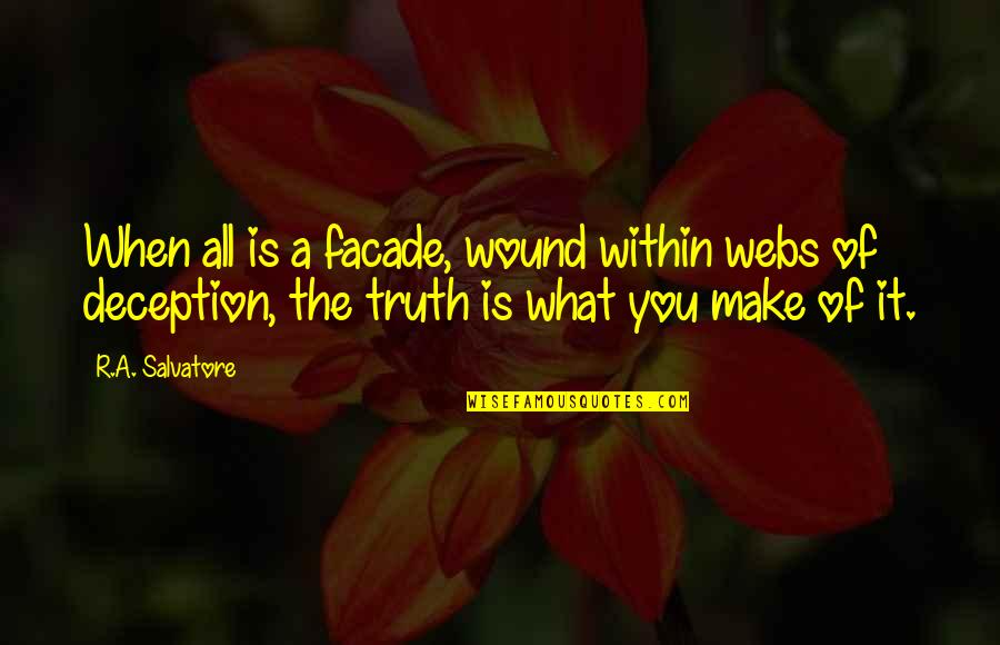 Facade Quotes By R.A. Salvatore: When all is a facade, wound within webs