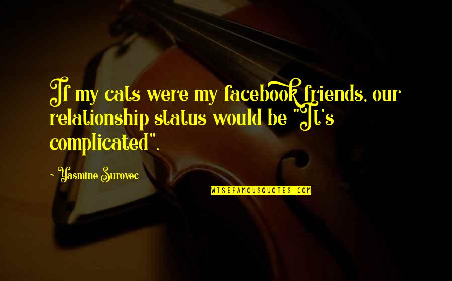 Facebook Relationship Status Quotes By Yasmine Surovec: If my cats were my facebook friends, our