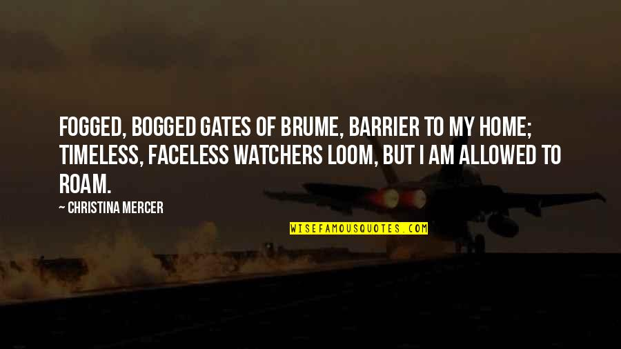 Faceless Quotes By Christina Mercer: Fogged, bogged gates of Brume, barrier to my