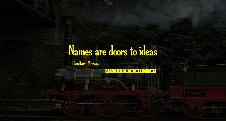 Facing Fears Of Love Quotes By Bradford Morrow: Names are doors to ideas