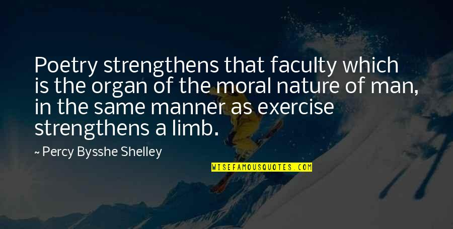 Faculty Quotes By Percy Bysshe Shelley: Poetry strengthens that faculty which is the organ