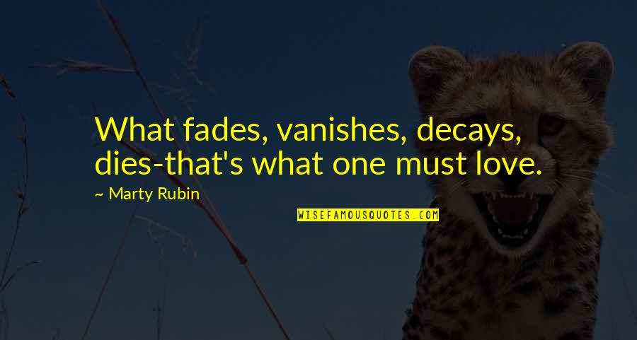 Fades Quotes By Marty Rubin: What fades, vanishes, decays, dies-that's what one must