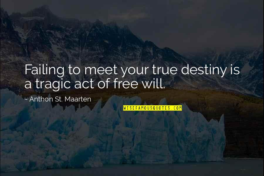 Failing In Life Quotes By Anthon St. Maarten: Failing to meet your true destiny is a